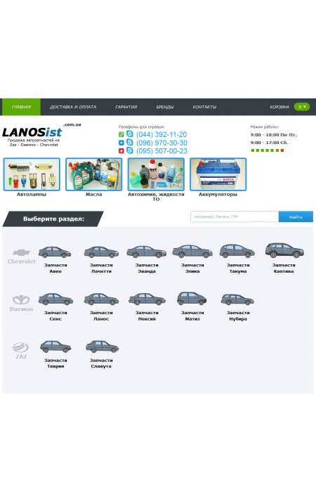 Готовый интернет магазин Автозапчастей